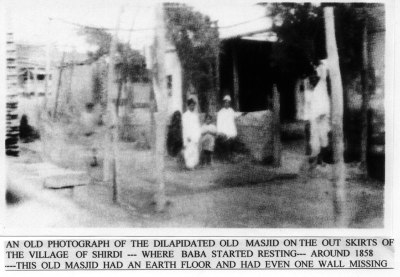 Early photo of Shirdi <em>masjid</em> occupied by Sai Baba